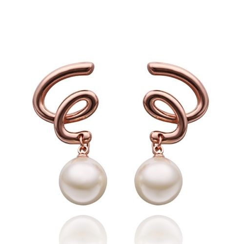 18K Rose Gold Plated Spiral Design 12mm Simulated Pearl Earrings