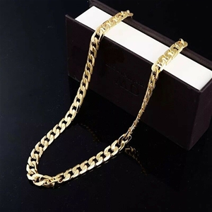 18K Yellow Gold plated 10mm Classic Curb