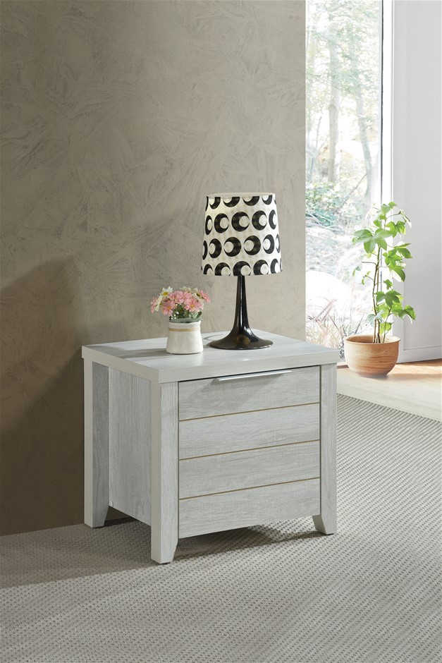 Bedside Table 2 drawers Storage Table Night Stand MDF in White Ash