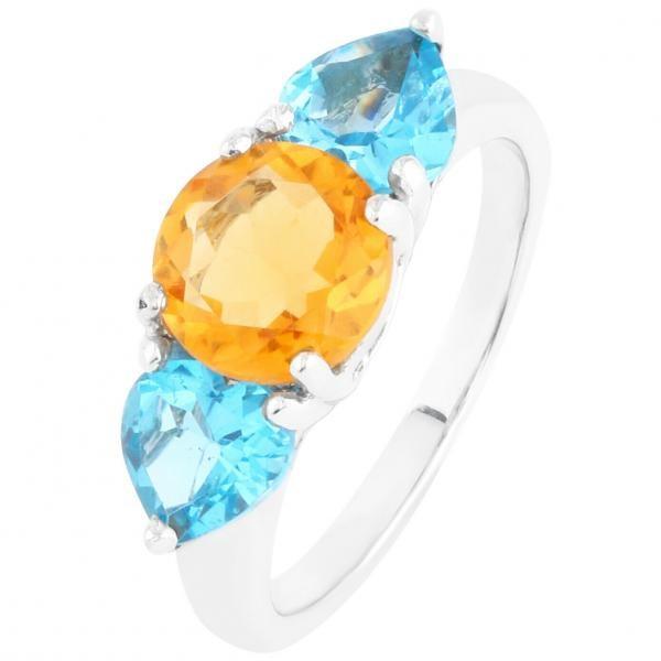 Stunning Sterling Silver Blue Topaz & Citrine Ring