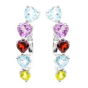 925 Silver Multi Gem Earrings