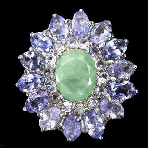 Gorgeous Silver Emerald & Tanzanite Ring