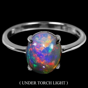 Spectacular Genuine Fire Opal Solitaire