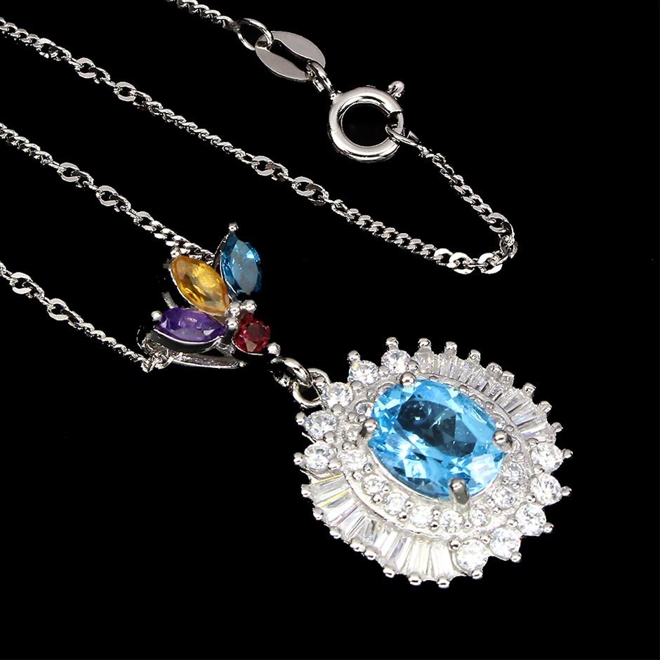 Genuine Swiss Blue Topaz, Amethyst, Garnet & Citrine Pendant & Chain