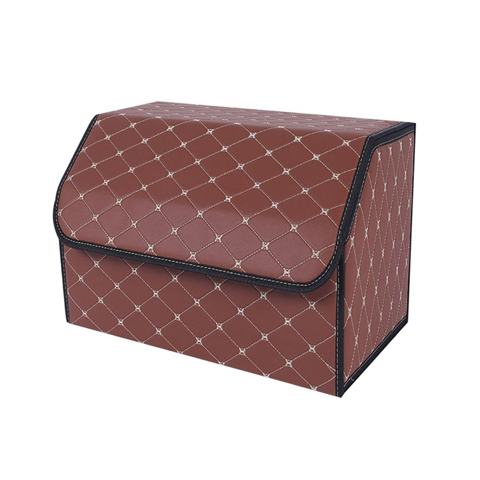 SOGA Car Boot Collapsible Storage Box Coffee/Gold Stitch Medium