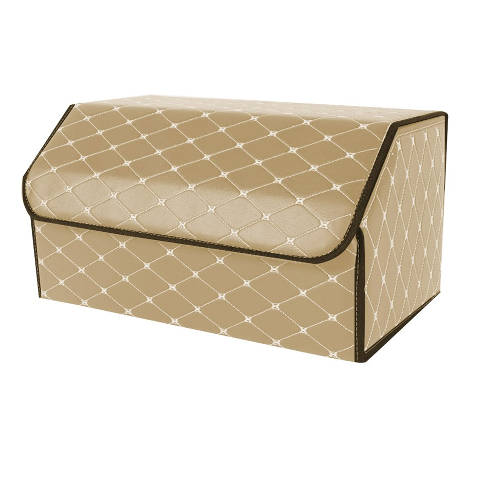 SOGA Car Boot Collapsible Storage Box Beige/Gold Stitch Large