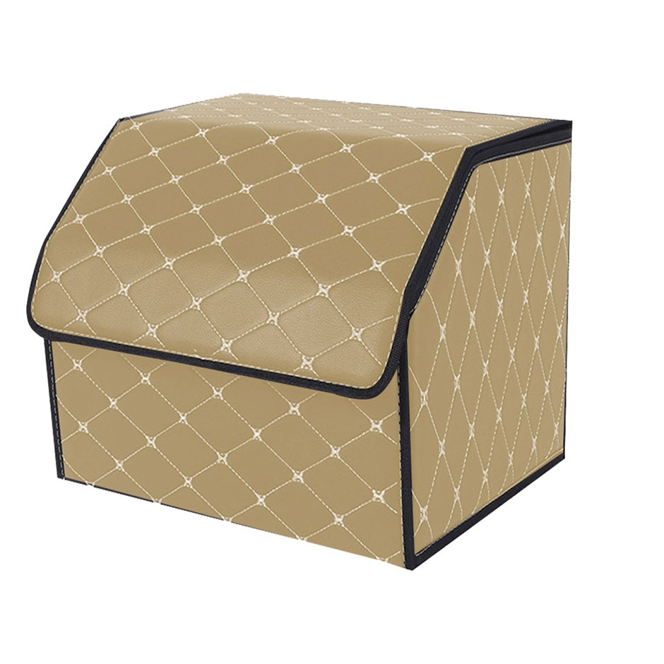 SOGA Car Boot Collapsible Storage Box Beige/Gold Stitch Small