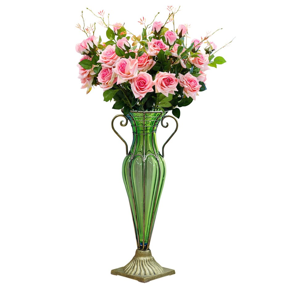 SOGA Glass Flower Vase with 6 Bunch 5 Heads Artificial Rose Set