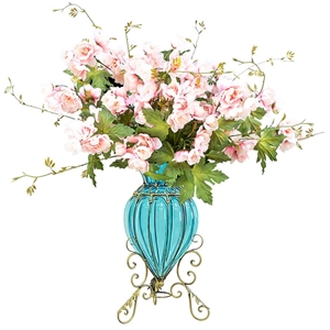 SOGA Glass Flower Vase with 8 Bunch 3 He