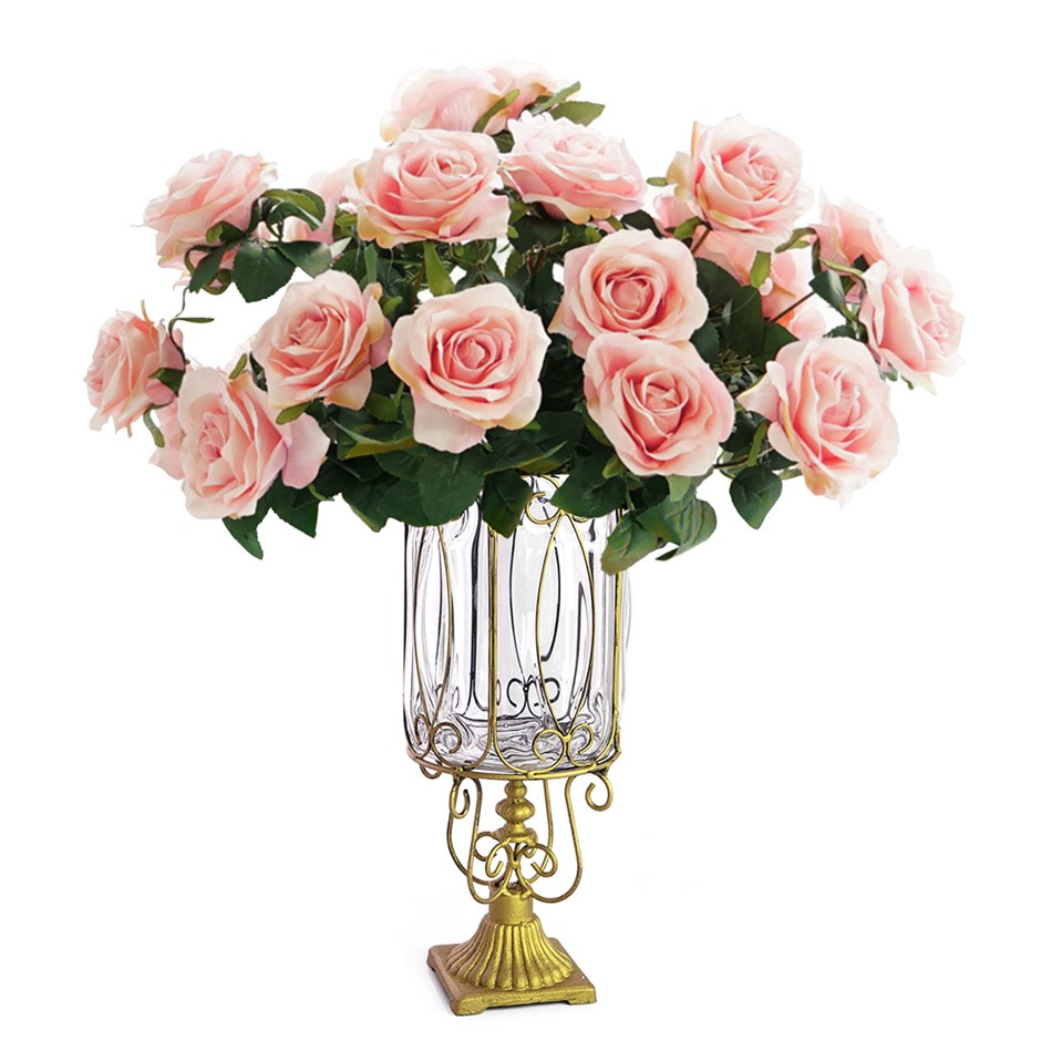 SOGA Glass Flower Vase with 4 Bunch 9 Heads Artificial Rose Set
