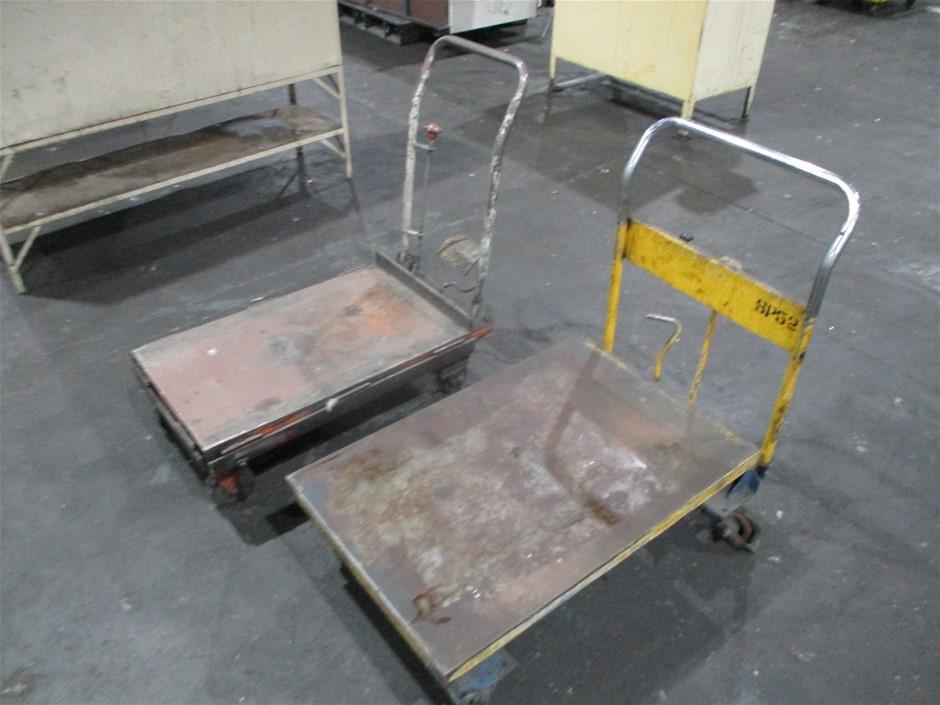 2 x Hydraulic Flat Bed Trolleys