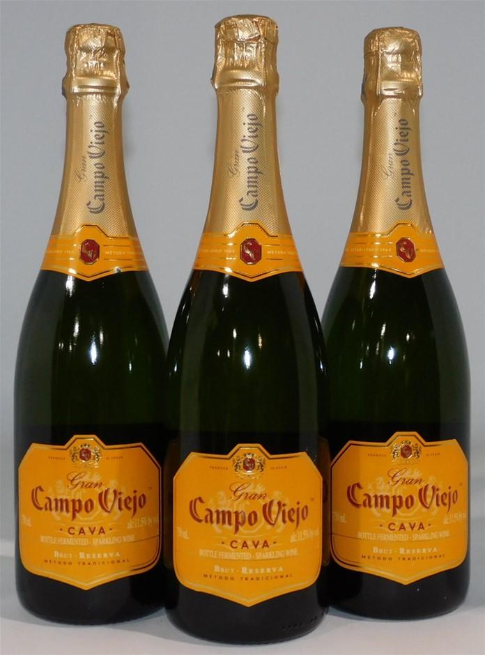Gran Campo Viejo Brut Reserva Sparkling Wine NV (3x 750mL), Spain