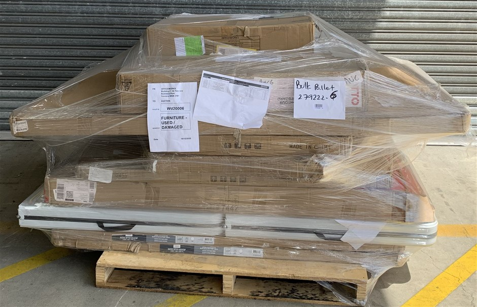 Pallet of Assorted Office Equipment, Gaming Chair, Whiteboard, Cupboard