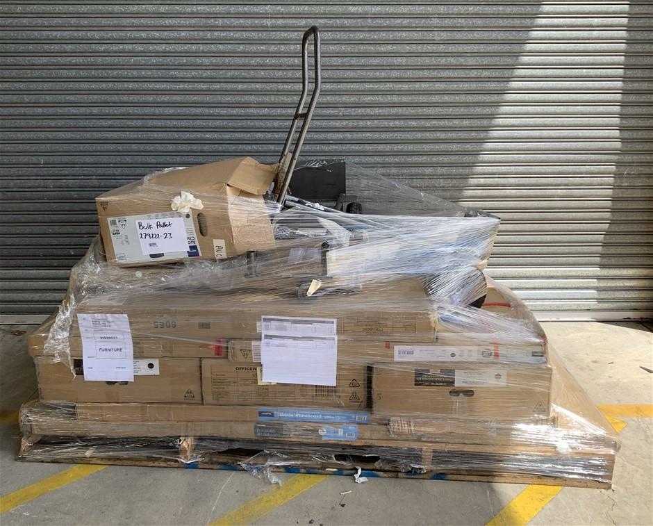 Pallet of Assorted Office Equipment, Projector Screen, Sit-Stand Desks