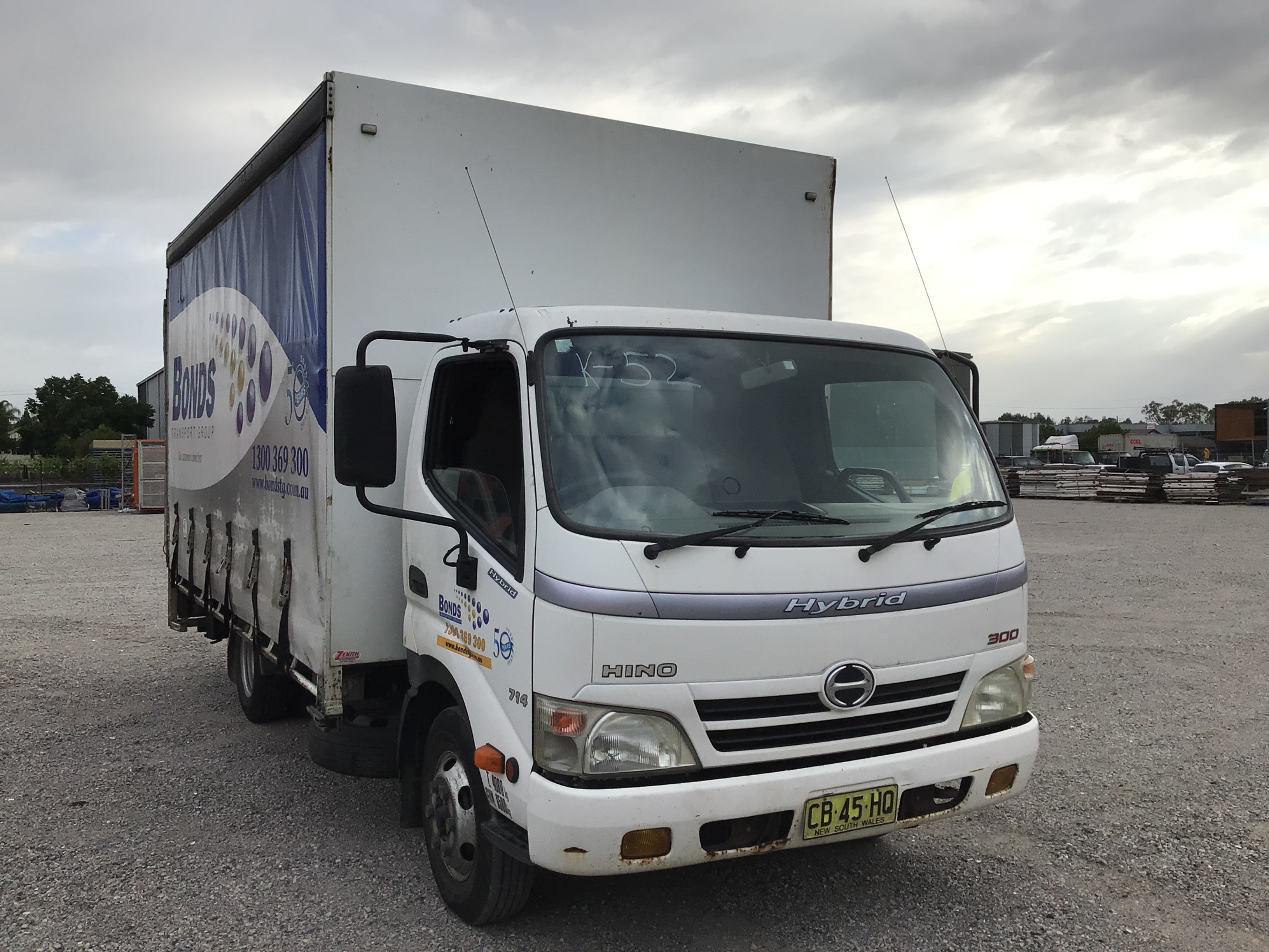 2010 Hino Hybrid 300 4 x 2 Curtainsider Rigid Truck