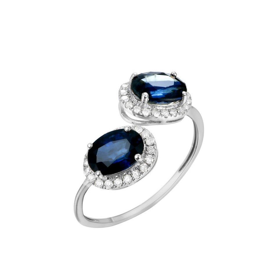 9ct White Gold, 1.98ct Blue Sapphire and Diamond Ring