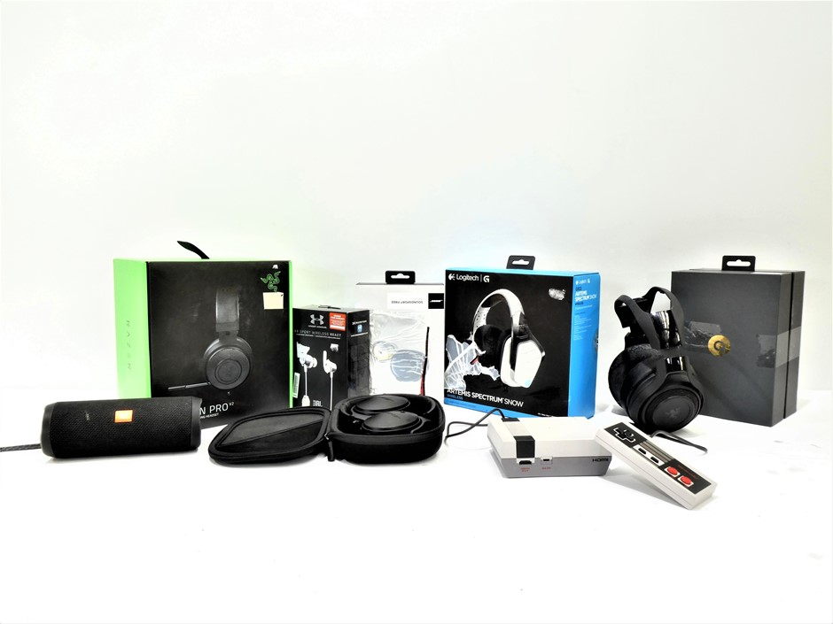 Bundle of Used & Untested Headphones, Wireless Speaker and Nintendo Console
