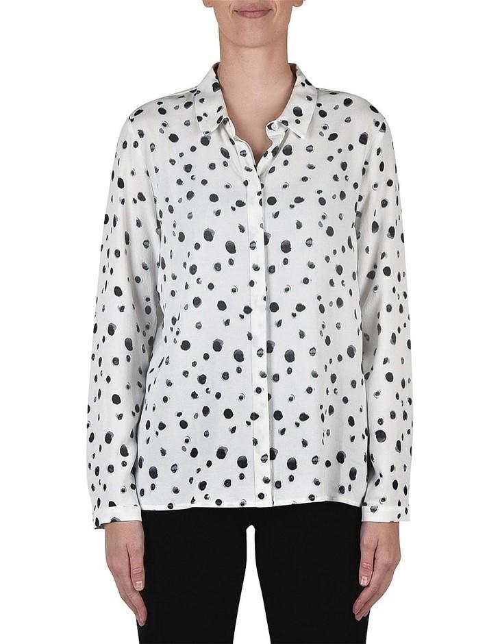 JUMP Long Sleeve Spot Abstract Shirt. Size 14, Colour: Ivory/ Black. 100% V