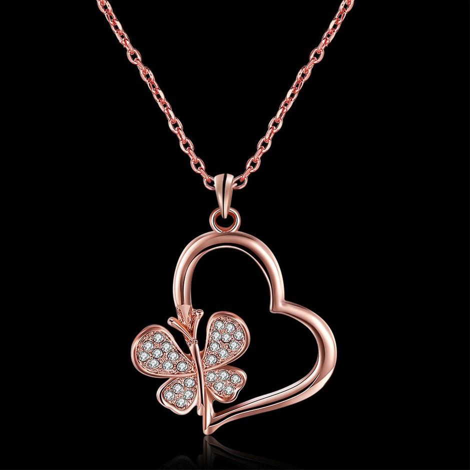 Elegant 18k Rose Gold Filled Heart Flora CZ Pendant Necklace