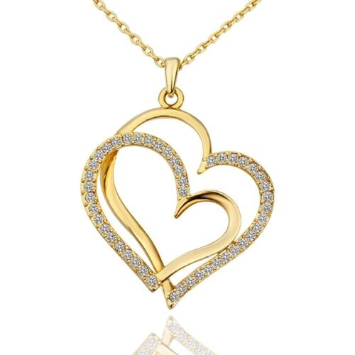 Elegant 18k Yellow Gold Filled GF Double Heart Pendant Chain Necklace