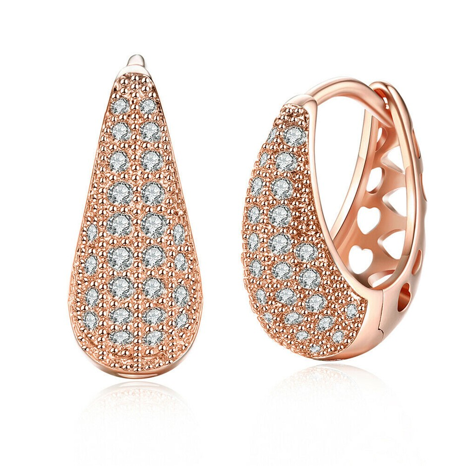 Elegant 18K Rose Gold Filled Clear CZ Huggies Earrings