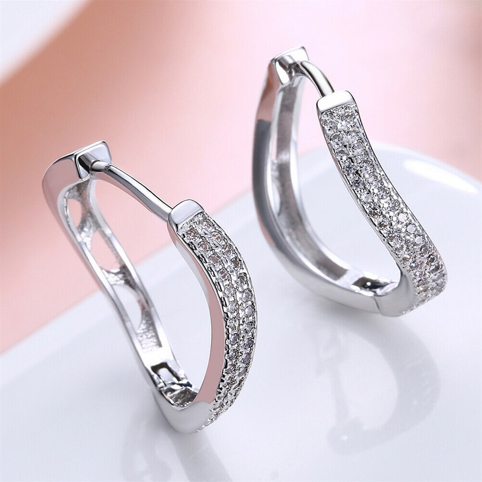 Elegant 18K White Gold Filled Curve shape Hoop CZ Huggies Earrings