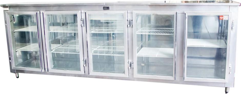 CHANNEN 5 GLASS DOOR BENCH HIGH BAR DISPLAY REFRIGERATOR