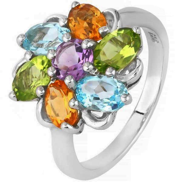 Stunning Sterling Silver Multi Gemstone Ring