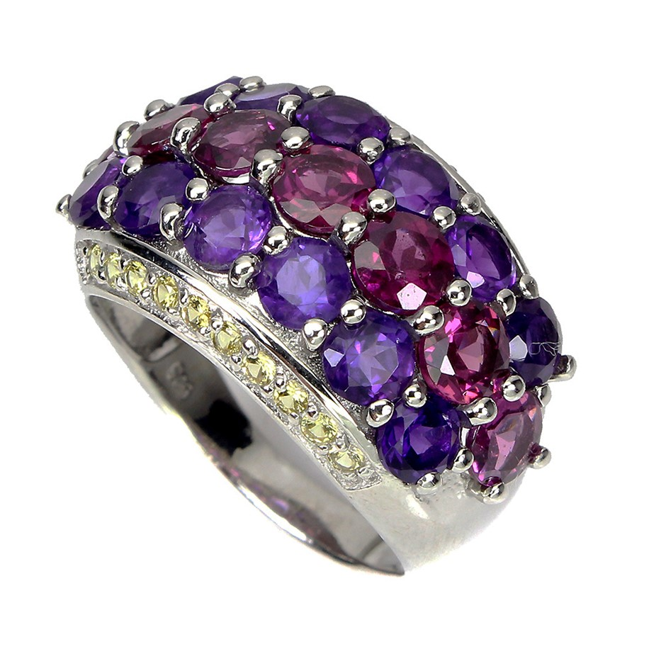 Gorgeous Sterling Rhodolite Garnet, Sapphire & Amethyst Ring
