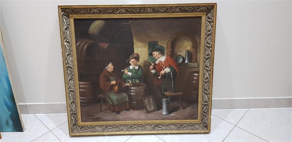 3 Men Drinking In Cellar