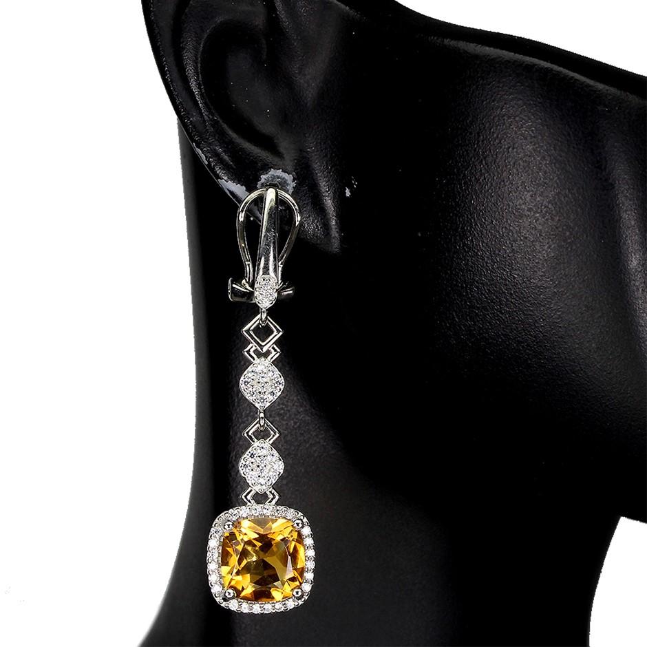 Striking Genuine Golden Citrine Drop Earrings.