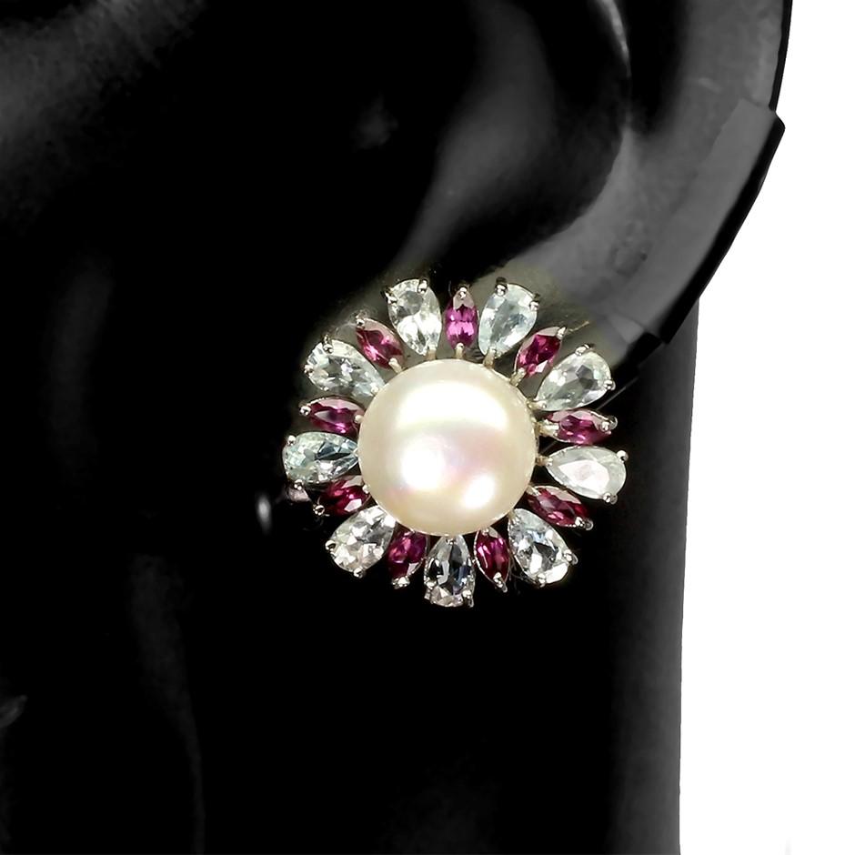 Amazing Genuine Pearl Aquamarine & Garnet Stud Earrings.