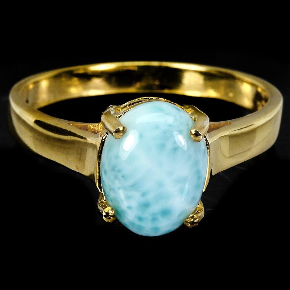 Striking Genuine Larimar Solitaire Ring.
