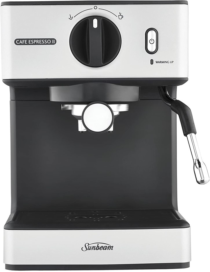 SUNBEAM Cafe Espresso II Coffee Machine, Colour: Silver , Espresso, Latte &