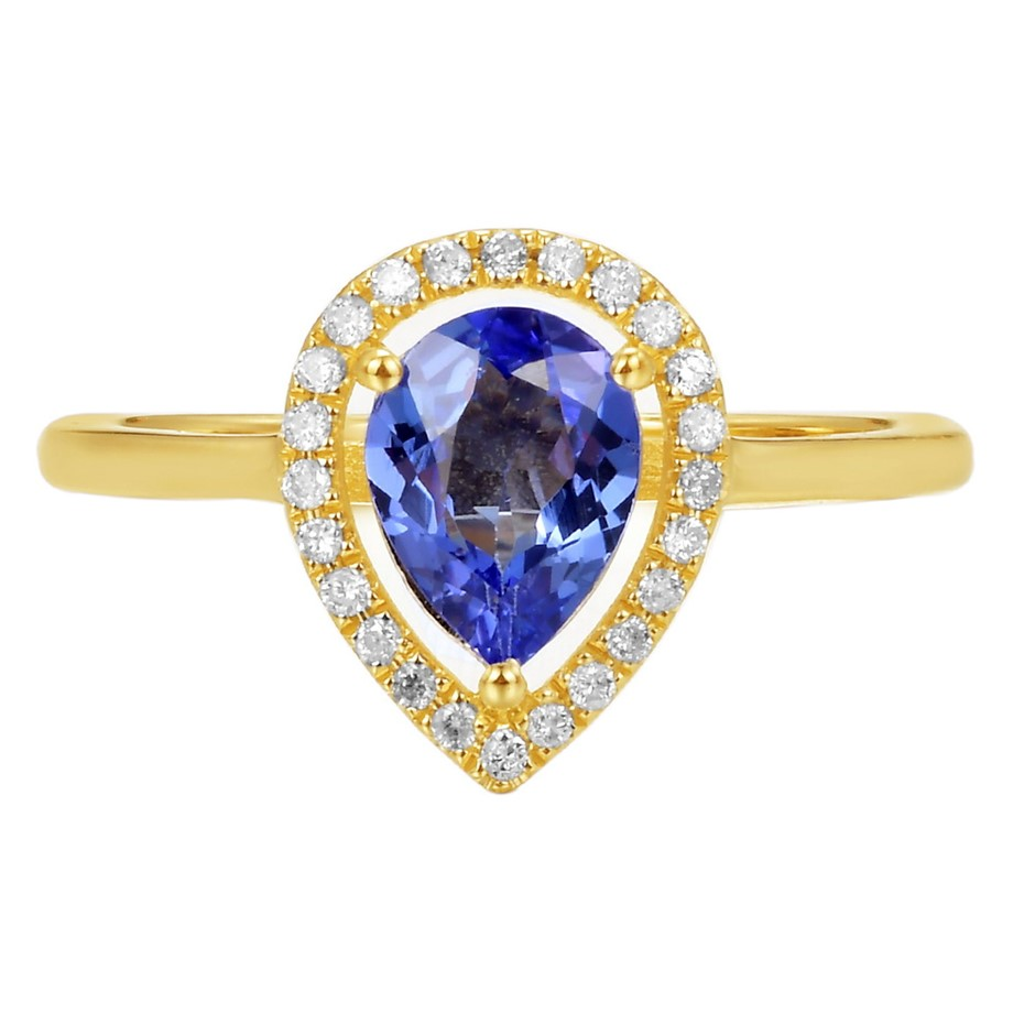 9ct Yellow Gold, 1.07ct Tanzanite and Diamond Ring