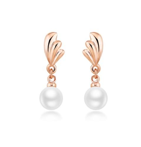 Classic 18K Rose Gold Filled Crystal Pearl Drop Dangle CZ Earrings