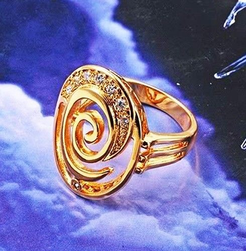 Elegant 18K Yellow Gold Filled Circle CZ Ring