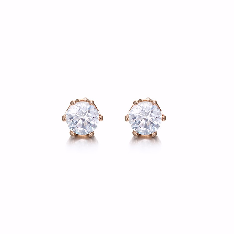 18ct Rose Gold Layered Stud Earring