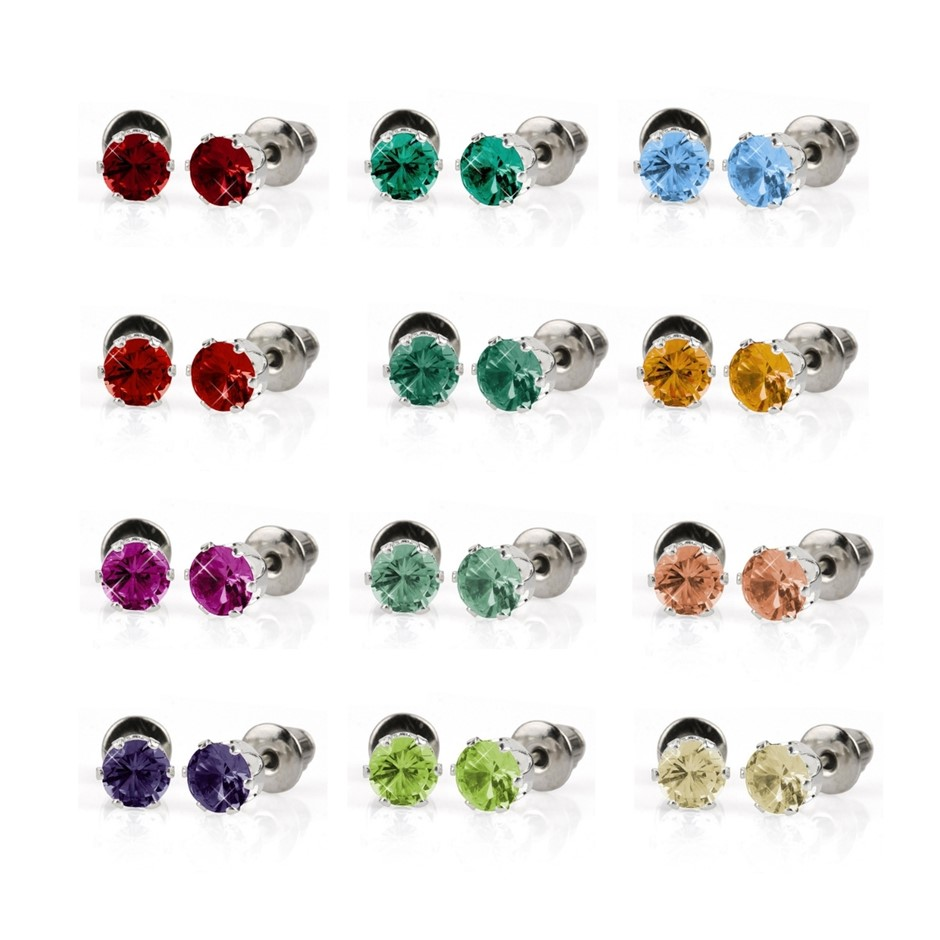 Bulk Pack - 12 x Coloured 5mm Stud Earrings - Great Gift Idea