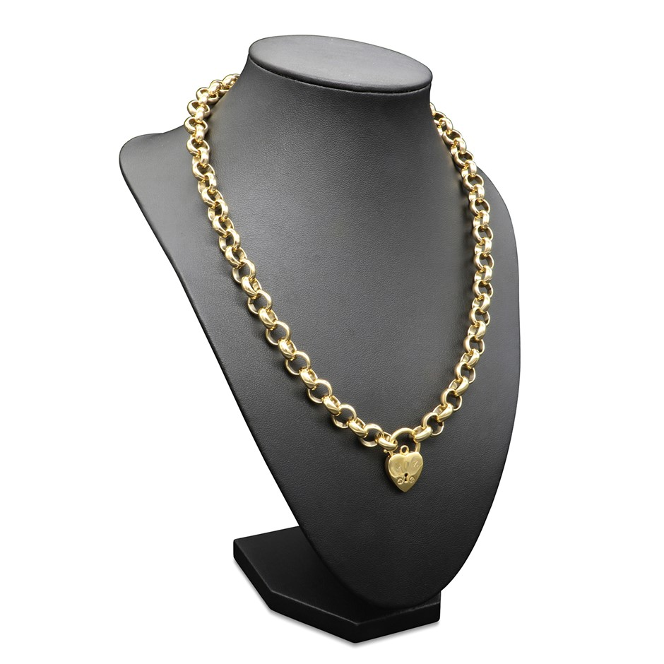 18ct Yellow Gold Layered Belcher Necklace Featuring a Small Plain Locket