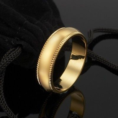 18ct Yellow Gold Layered Men's Etched Band Ring (6mm) - US Size 13