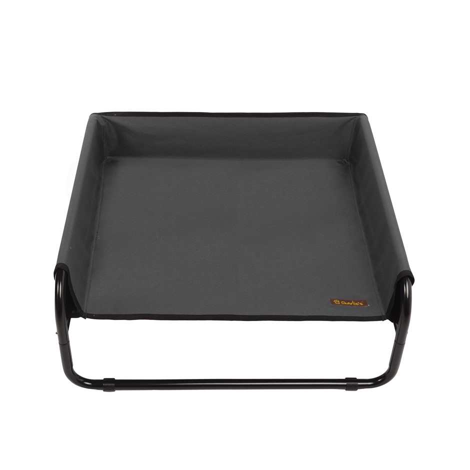 Charlie's Pet High Walled Outdoor Trampoline Pet Bed Cot - Black 70x70x28cm
