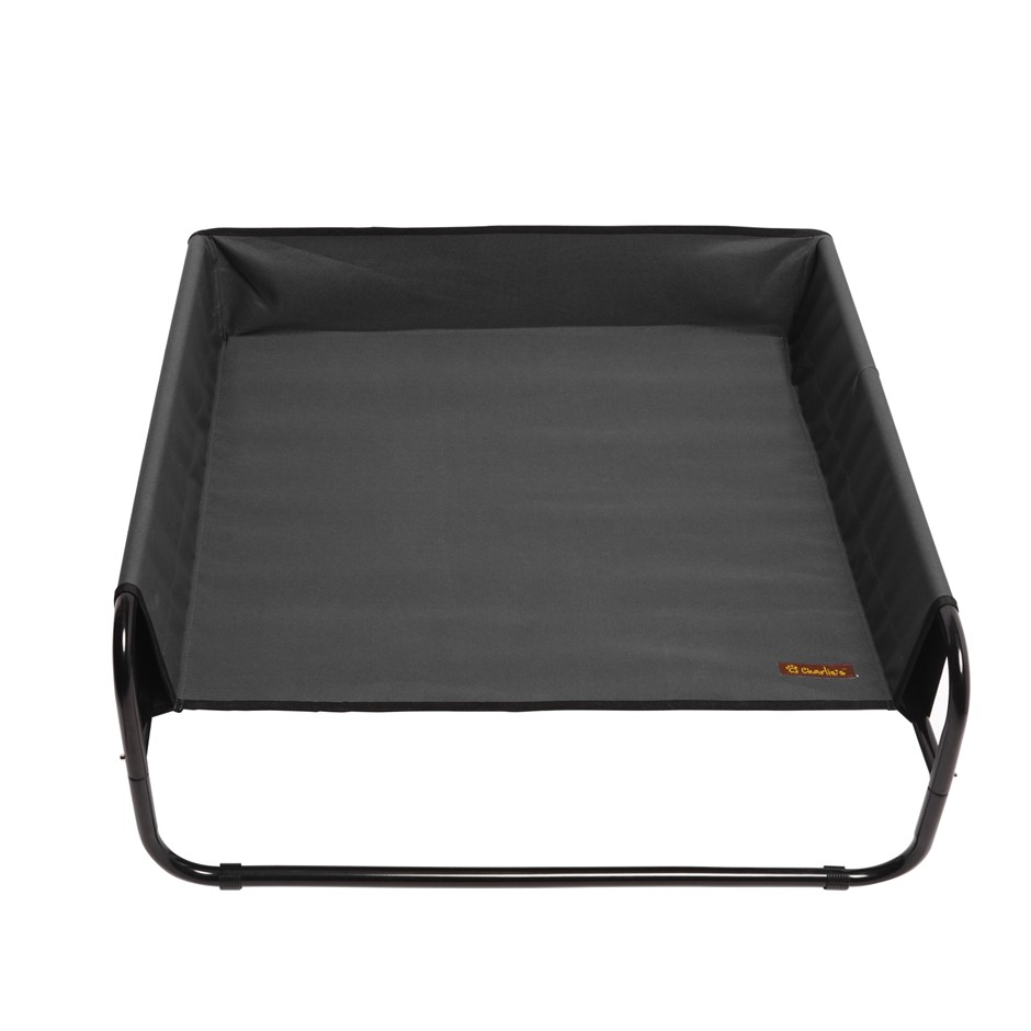 Charlie's Pet High Walled Outdoor Trampoline Pet Bed Cot - Black 85x85x33cm