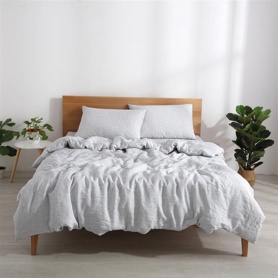 Natural Home Classic Pinstripe Linen Quilt Cover Set Double Bed White/Navy