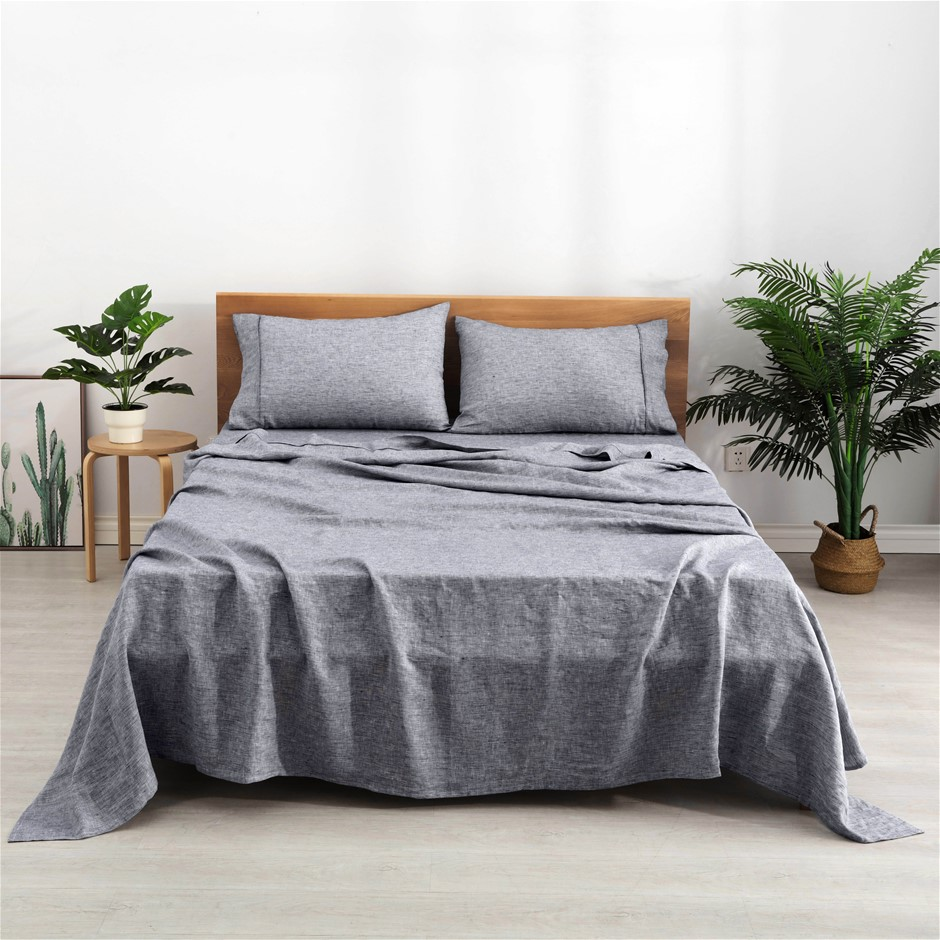 Natural Home Classic Pinstripe Linen Sheet Set Single Bed Navy and White
