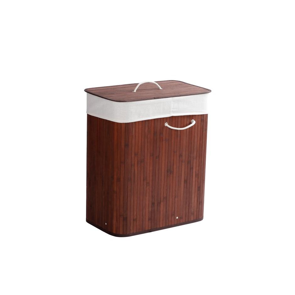 Sherwood Rectangular Folding Bamboo Laundry Basket 2 Section Sorter 105L