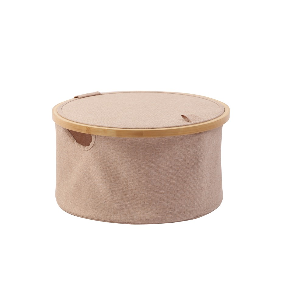 Sherwood Home Round Linen and Bamboo Laundry Hamper with Cover - 38x38x20cm
