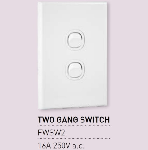 Qty 10 X Vynco Vertical Wall Light Switch Outlet 2 Gang 16A 250V