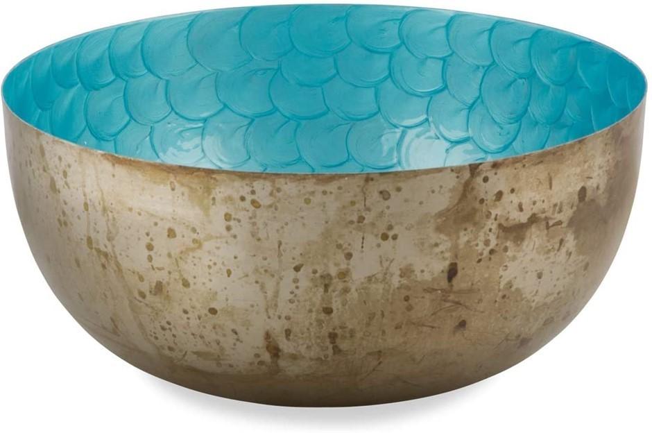 BOHO TRADERS Iron Bowl with Enamel Inlay, Size: Large, Colour: Burnt Nickel