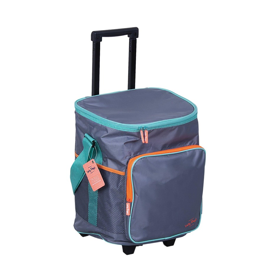 Picnic Jumbo Cooler Bag Tote Integrated Trolley On Wheels 25L Insulated